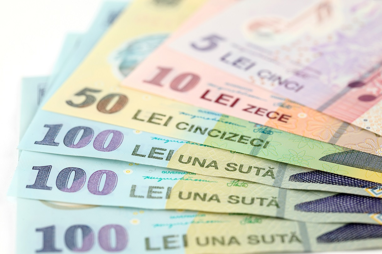 Romanian banknotes, close-up
