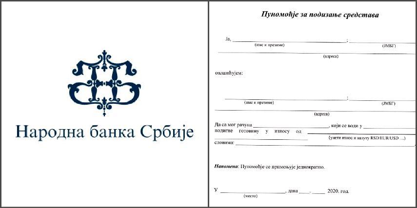 Narodna banka Srbije izdala primer posebnog ovlašćenja za podizanje penzija (FOTO)