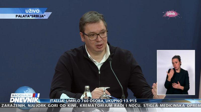 Vučić: Od subote u 13h do ponedeljka u 5h zabrana kretanja