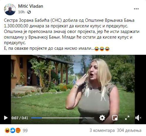 NIJE VIC: Sestra ZORANA BABIĆA dobila od države 1.300.000,00 da KISELI KUPUS!