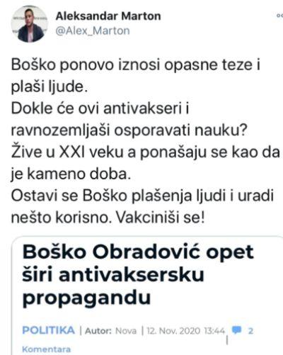 """""""Boško, ne plaši ljude, VAKCINIŠI SE! Ponašaš se kao da je kameno doba."""""""