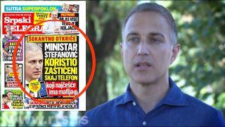 Stefanović: Srpski telegraf laže da sam koristio Skaj i da imam veze sa kriminalom, direktor FBI može to da potvrdi (VIDEO)