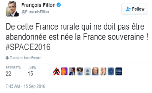 """""""Sovereign France is born out of this rural France that must not be abandoned""""."""