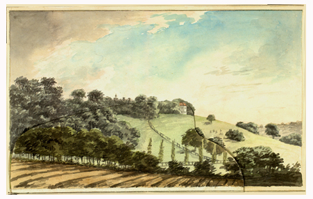 Watercolor by landscape designer Humphrey Repton made in 1658 to show how he would redesign the surroundings.