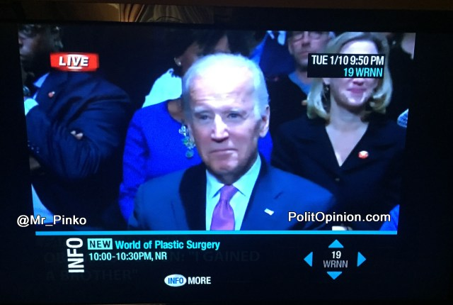 ROTFLMAO OMG Joe Biden - Cable Info Bar During Obama's Farewell Speech ALSO CHECK OUT what my cable bar info said under OBAMA!
