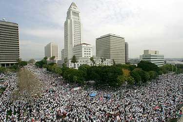 March 25 immigrant rights march. LA Times