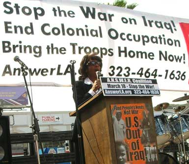 Maxine Waters, antiwar rally, March 18 2006