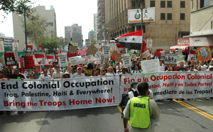 antiwar protest, lead banners, Los Angeles