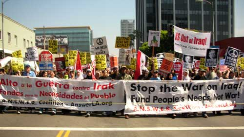 March 17 antiwar march L.A., both banners