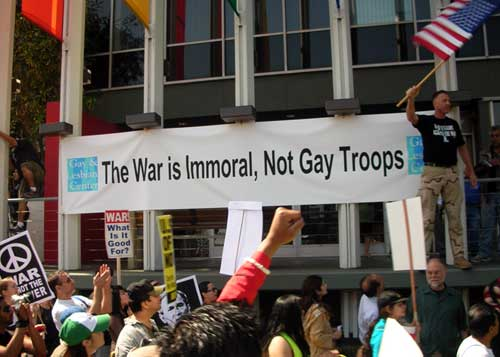 March 17 antiwar march L.A. Gay and Lesbian center banner