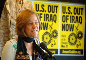 Cinndy Sheehan. March 17 press conference