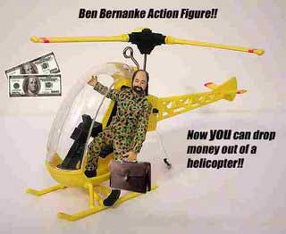 Bernanke helicopters in money