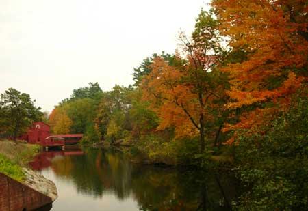 Fall foliage.Small dam. Simsbury CT