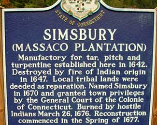 Town of Simsbury CT marker. Indian wars.