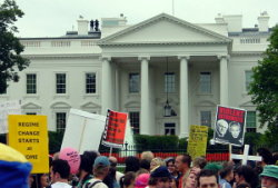 antiwar protest. White House