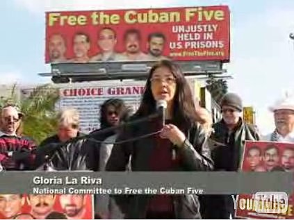 Free the Cuban Five, Gloria La Riva. Hollywood billboard.