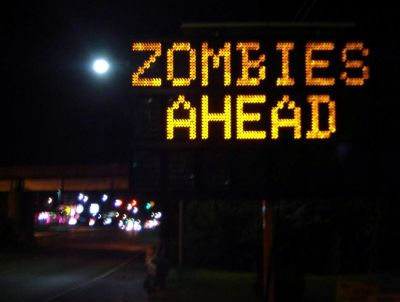 zombies ahead road sign