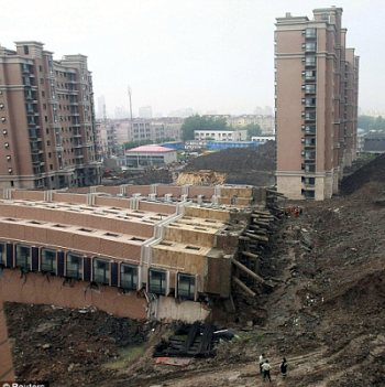 collapsed building in Shanghai