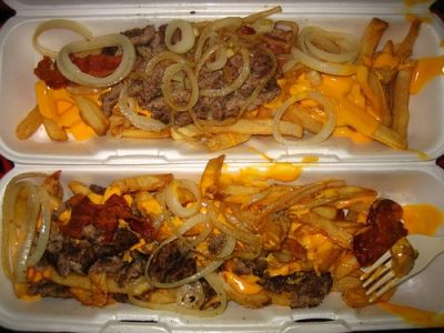 Heart Attack fries. Cheese-covered french fries with grilled onions, bacon and beef. From ThisisWhyYoureFat.com