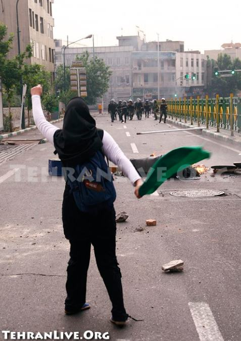 Woman Protesting in Iran. Posted on Twitpic.