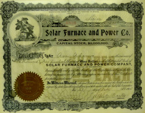 Stock certificate for Solar Furnace and Power Co.