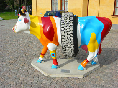 Cow Parade. Tire Cow. Stockholm
