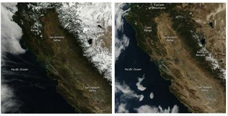 California snowpack. 2013 on left, 2014 on right. The white is snow