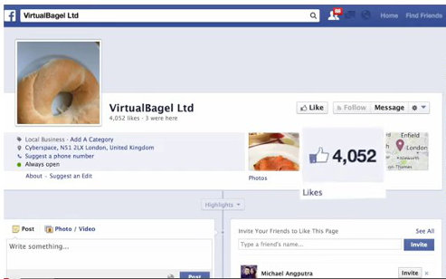 Virual Bagel. An instructive, mock page. 4,000+ Likes from by click farms covering their tracks and no engagement, Worse than useless.