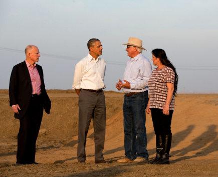 Obama tours a field with farmer Joe Del Bosque, wife Maria, CA Gov. Jerry Brown. Los Banos, CA, Feb. 14, 2014.