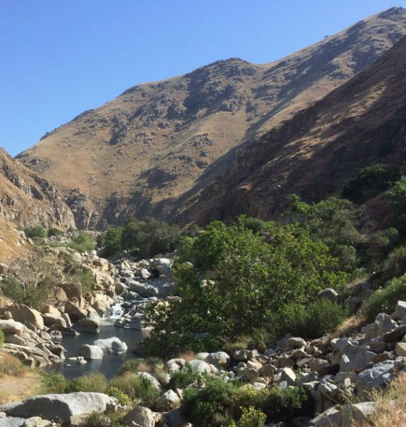 The Kern River on CA-178 is perilously low