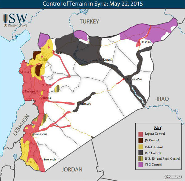 Control of terrain in Syria. May 22, 2015