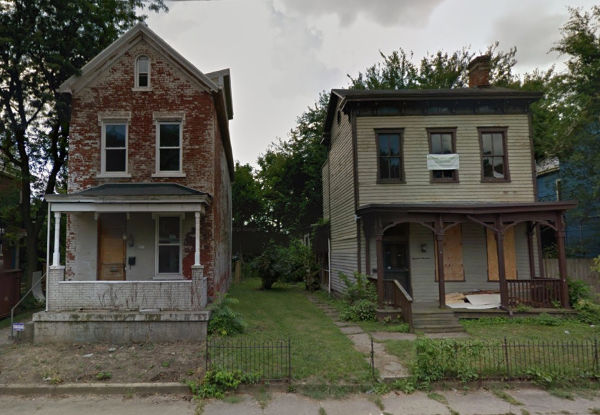 The same Cincinnati homes before restoration
