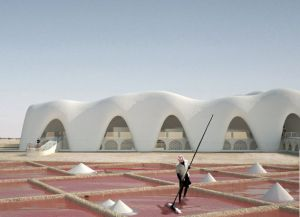 Salt buildings in desert