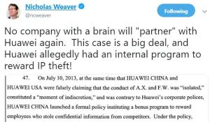 Huawei. Meng Wanzhu. DoJ indictments. IP theft.