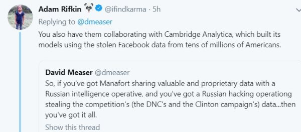 Manfort shares data with GRU. Russian hacking. Cambridge Analytica. tweet