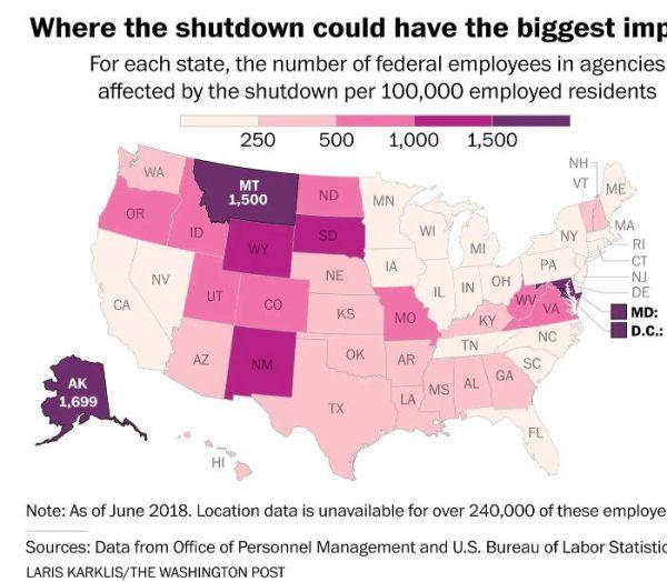 Shutdown impact by state