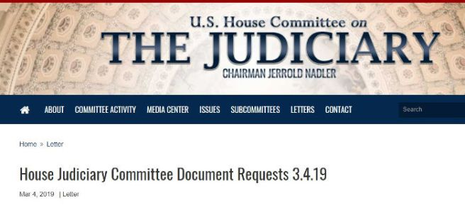 House Judiciary Committee request for documents
