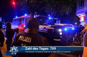 Zahl des Tages: 709 (verletzte Polizisten während des G20-Einsatzes)