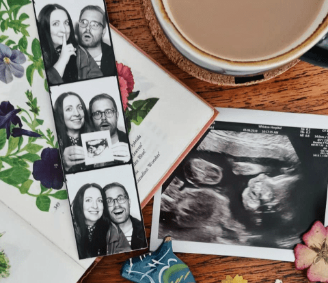 Baby Announcement Featuring Photobooth Images and Pregnancy Scan