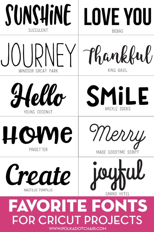 Cricut Font List : cricut, Favorite, Fonts, Cricut, Projects, Polka, Chair