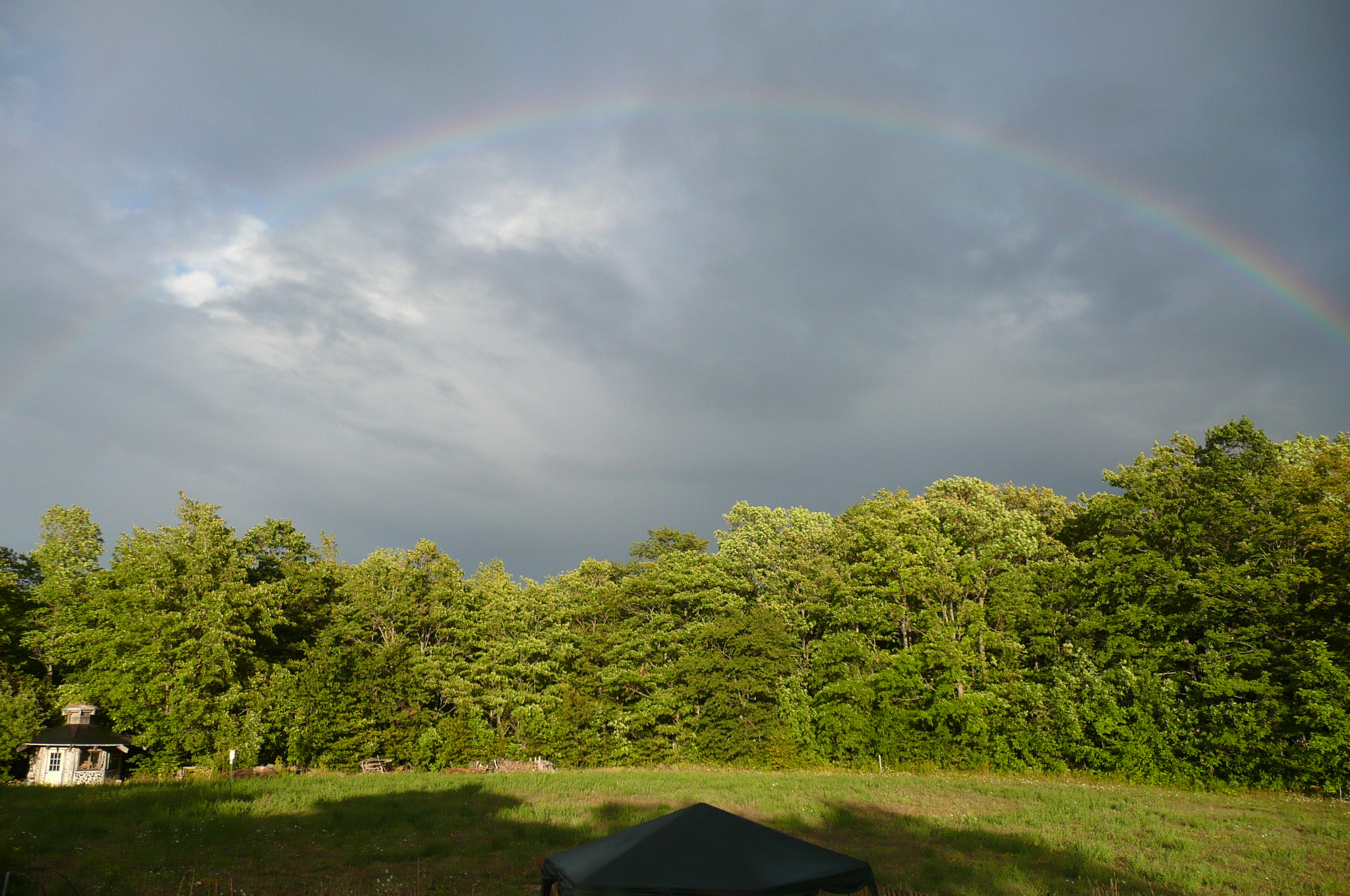 Rainbow over homestead Polka Dot Hen Produce