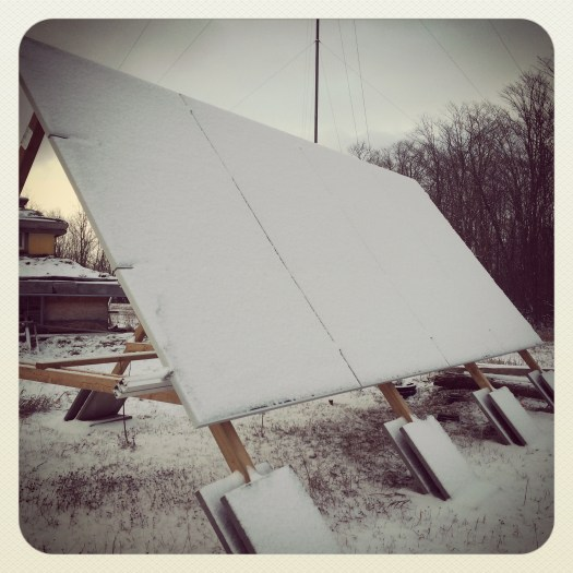 Snow accumulation on solar panels