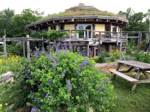 cordwood and straw bale house with blooming flower garden birds nest garden farm