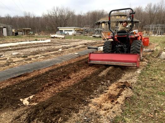 Using a box scraper to prep rows no-till conversion Bird's Nest Garden Farm