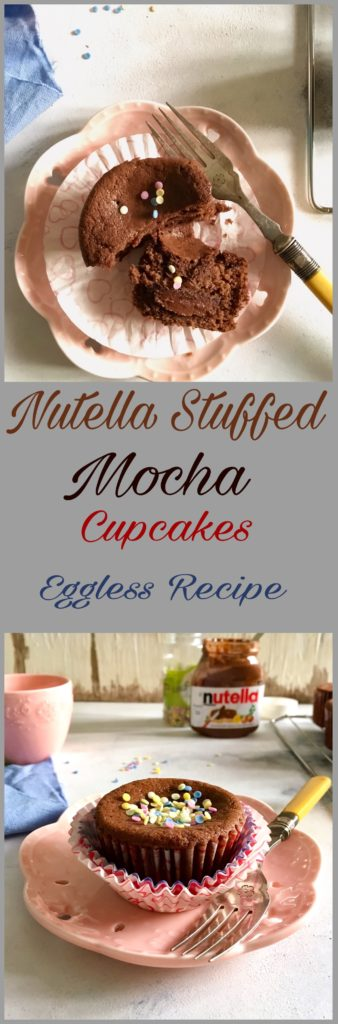 Nutella Stuffed Mocha Cupcakes