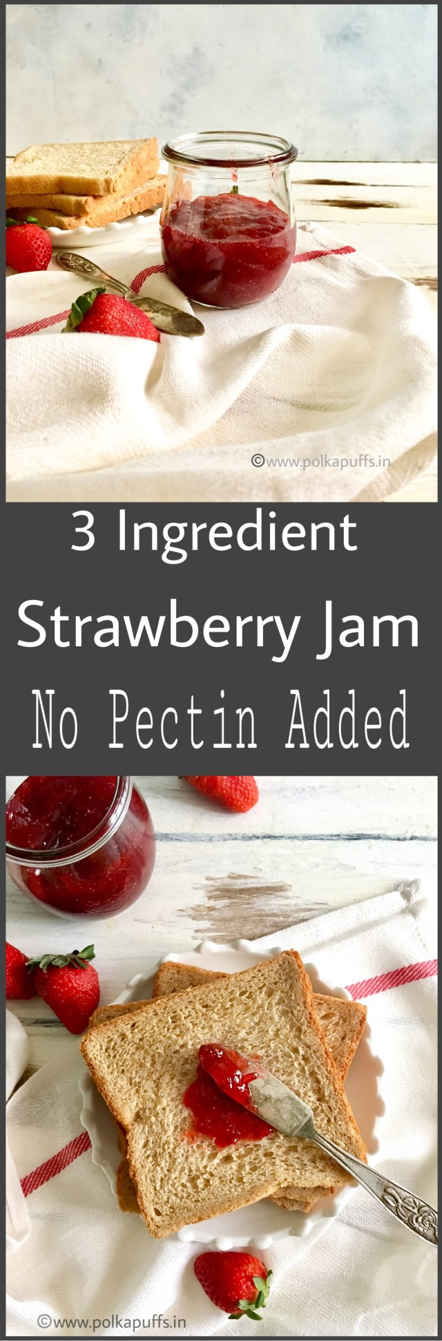 3 Ingredient Strawberry Jam | Strawberry Preserve | No Pectin Strawberry Jam | Homemade Strawberry Jam