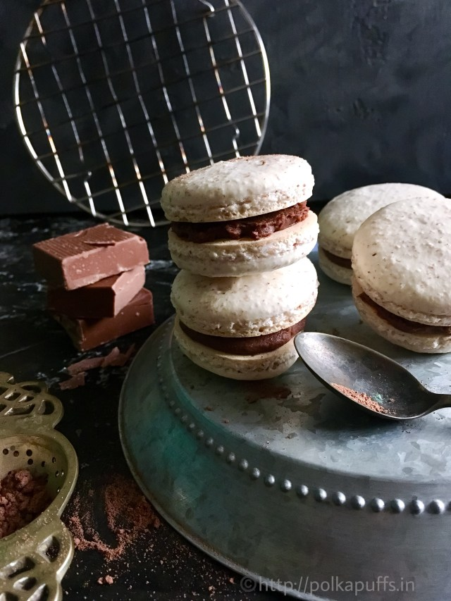 French Macarons with Chocolate Buttercream Filling | Vanilla Macarons