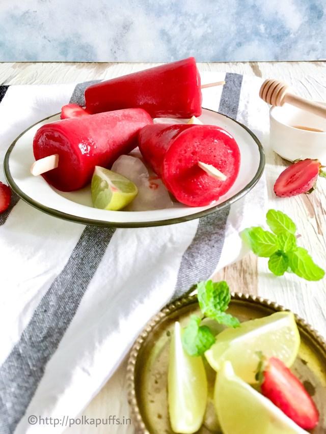 Strawberry Popsicles - Gluten free, Vegan, Paleo