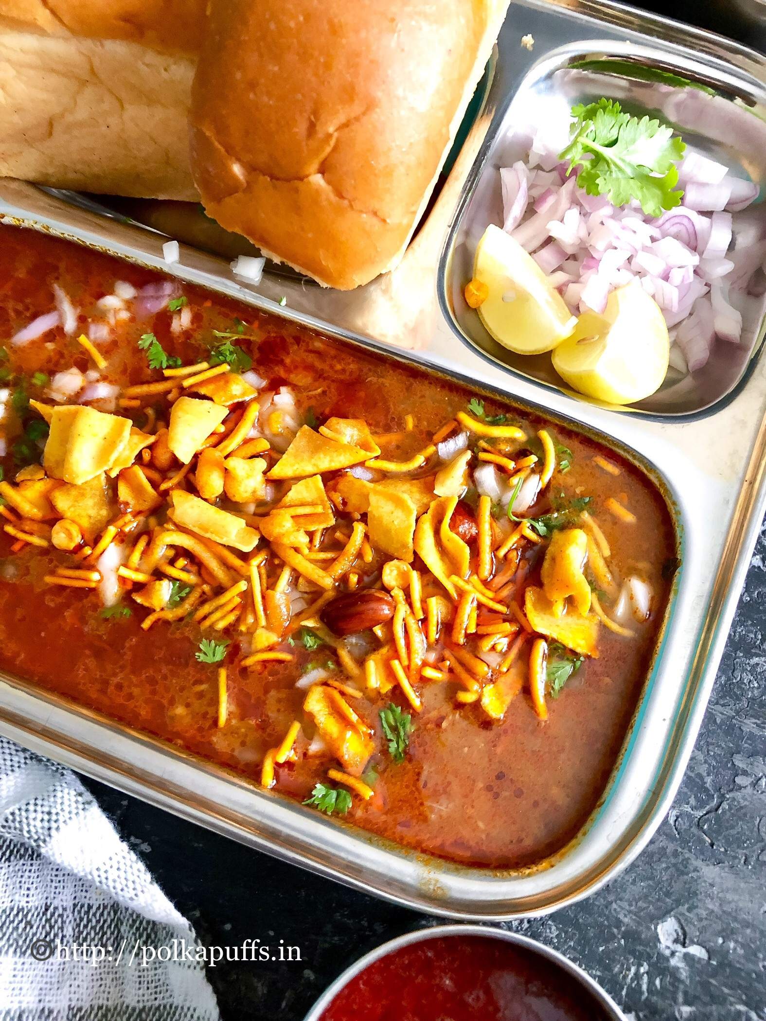 Kolhapuri Misal Pav   How to make Misal Pav - Polka Puffs  Misal Pav Recipe In Marathi