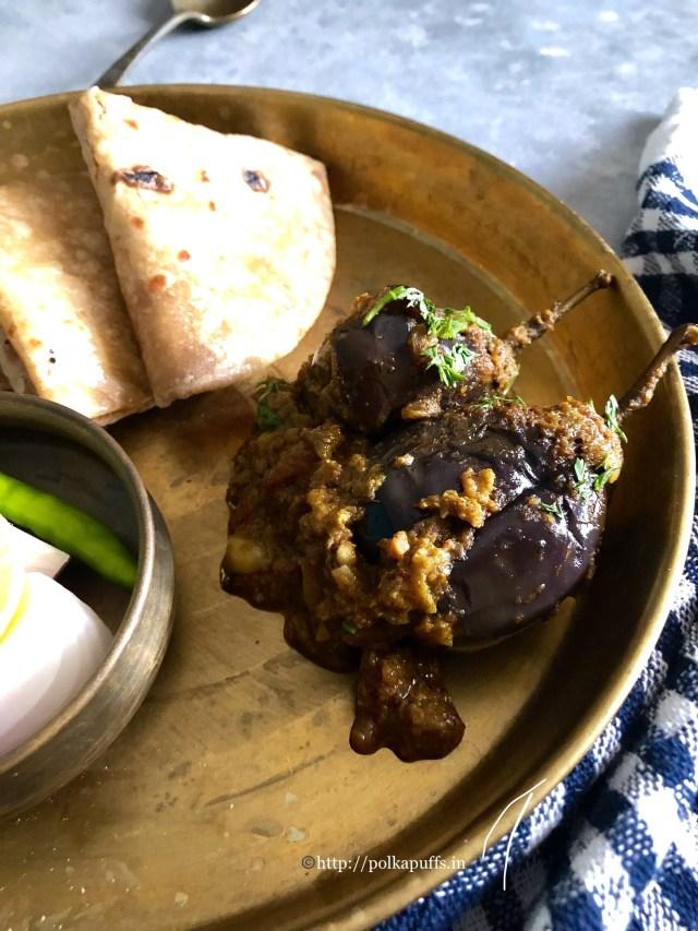 Bharli Vangi | Maharashtrian Style Stuffed Brinjals